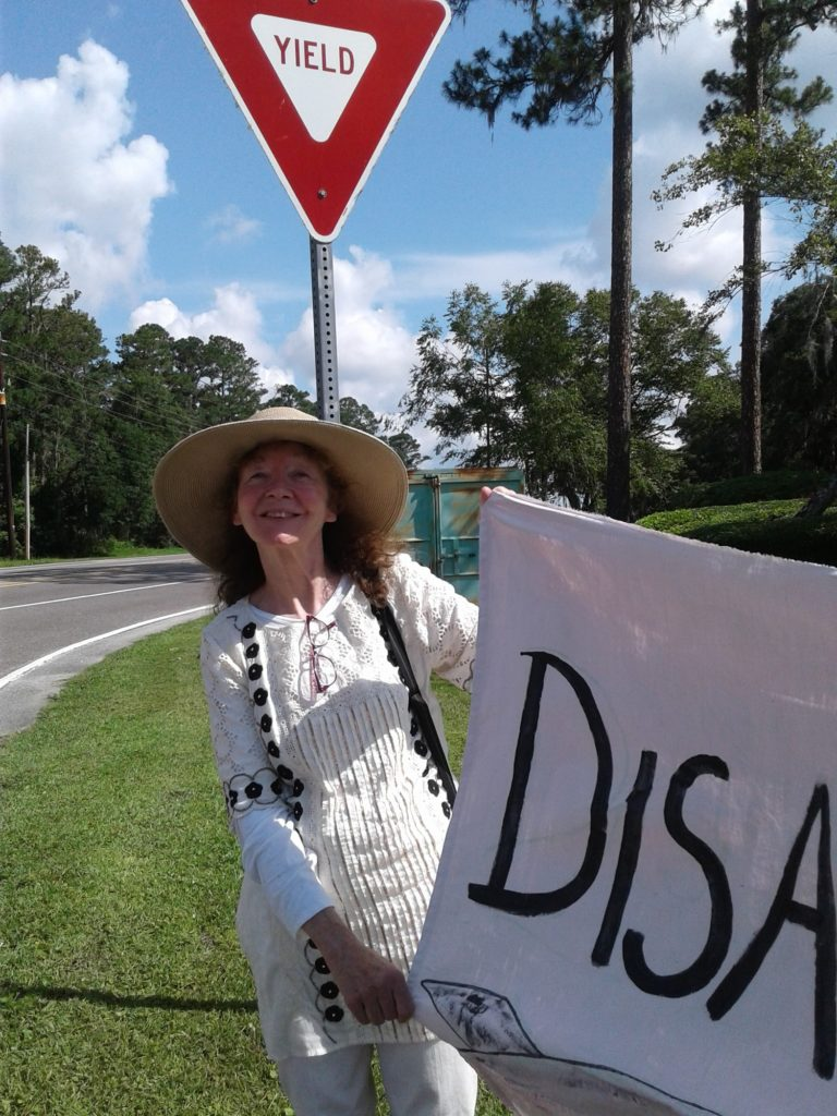 Fast Day 1: Kathy Kelly fasting and vigiling at the gates of  Kings Bay Naval Base, St Mary's Georgia